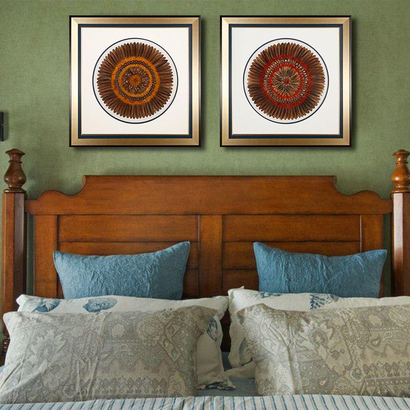 现代简约客厅卧室背景羽毛装饰画