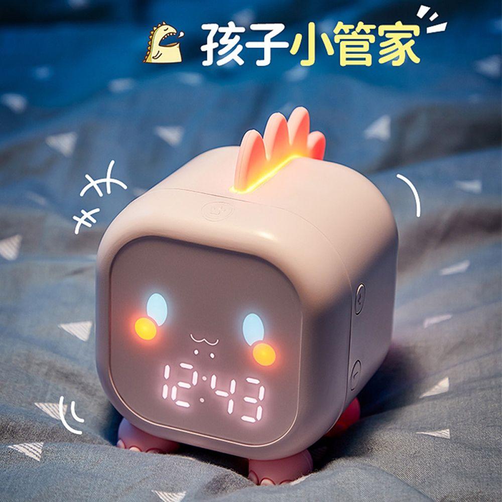 新款闹钟儿童创意数字电子钟卡通恐龙小闹钟定时唤醒灯声控报时钟