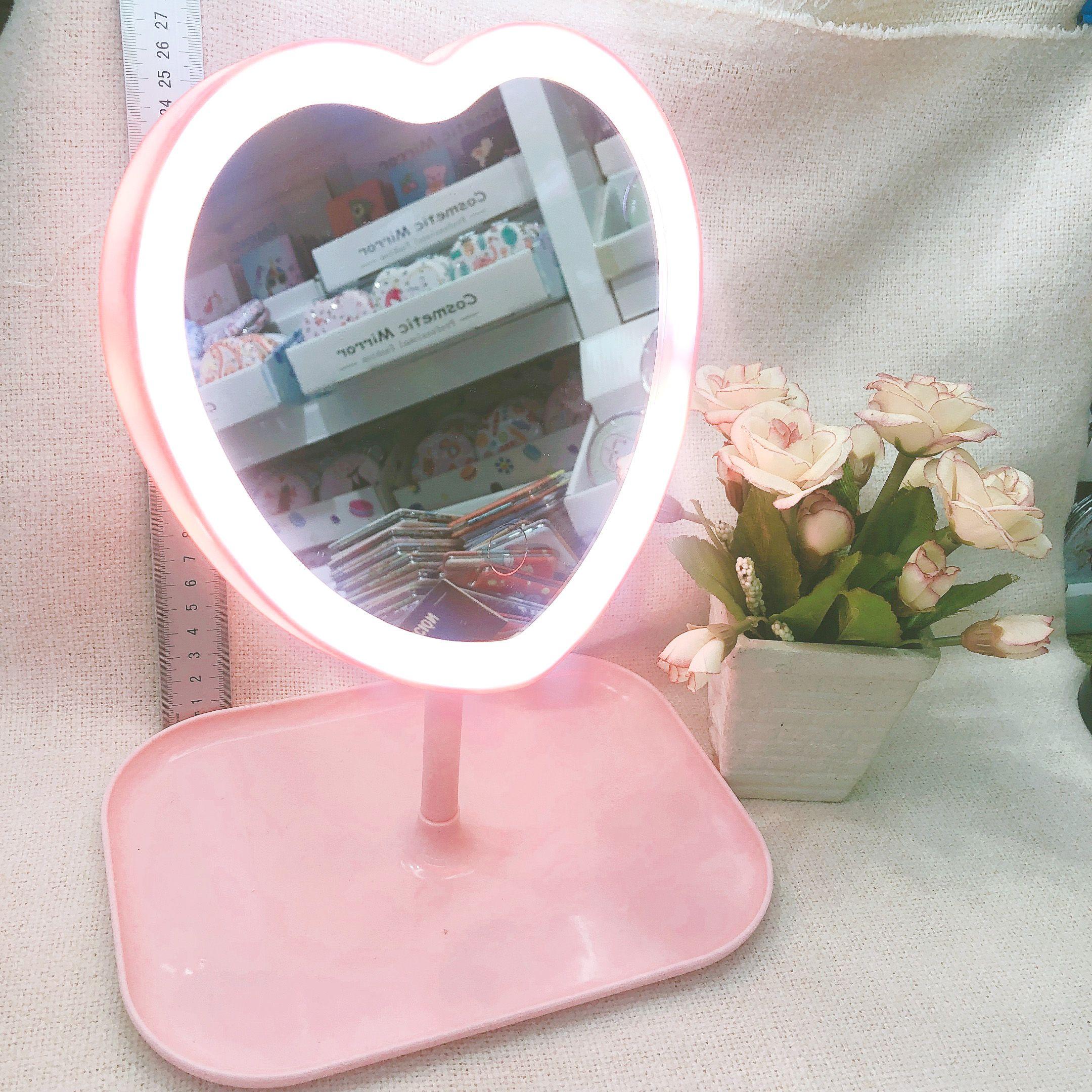 aed轻欧化妆镜子 桌面折叠化妆镜 带灯补光台式梳妆镜学生台镜