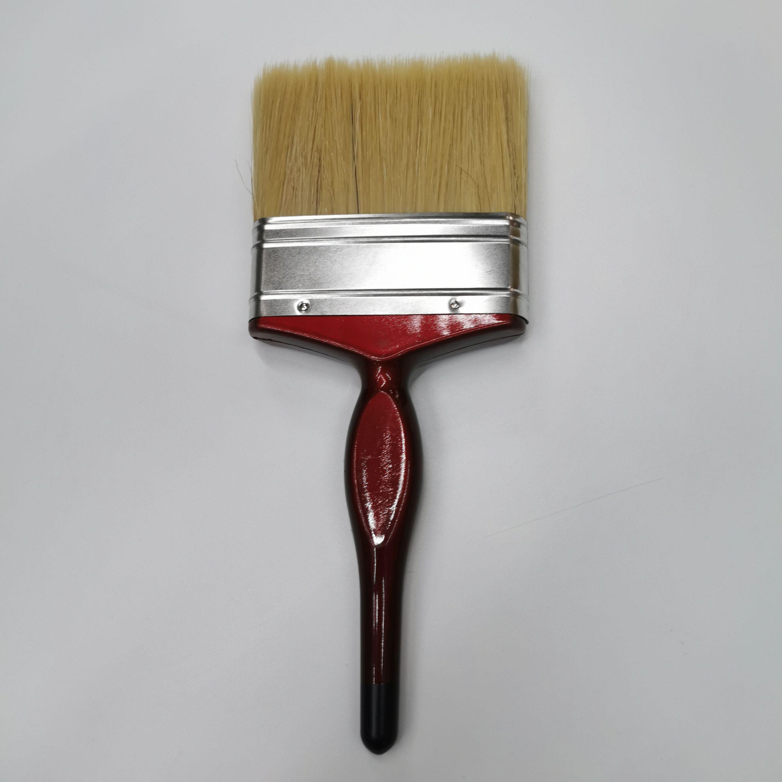 高档白毛油漆刷滚筒刷猪毛刷红塑柄