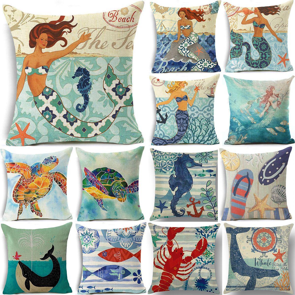 亚马逊热卖数码印花欧美复古 美人鱼海洋系列抱枕靠垫