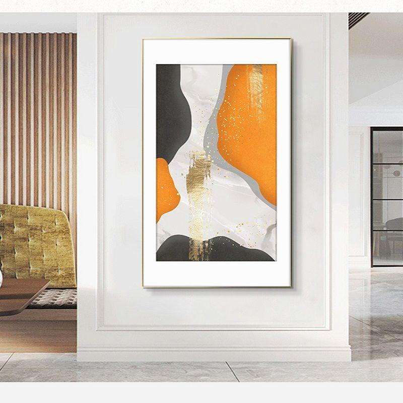 铭金幻橙入户玄关装饰画竖版简约现代简欧过道走廊玄关星钻鎏金