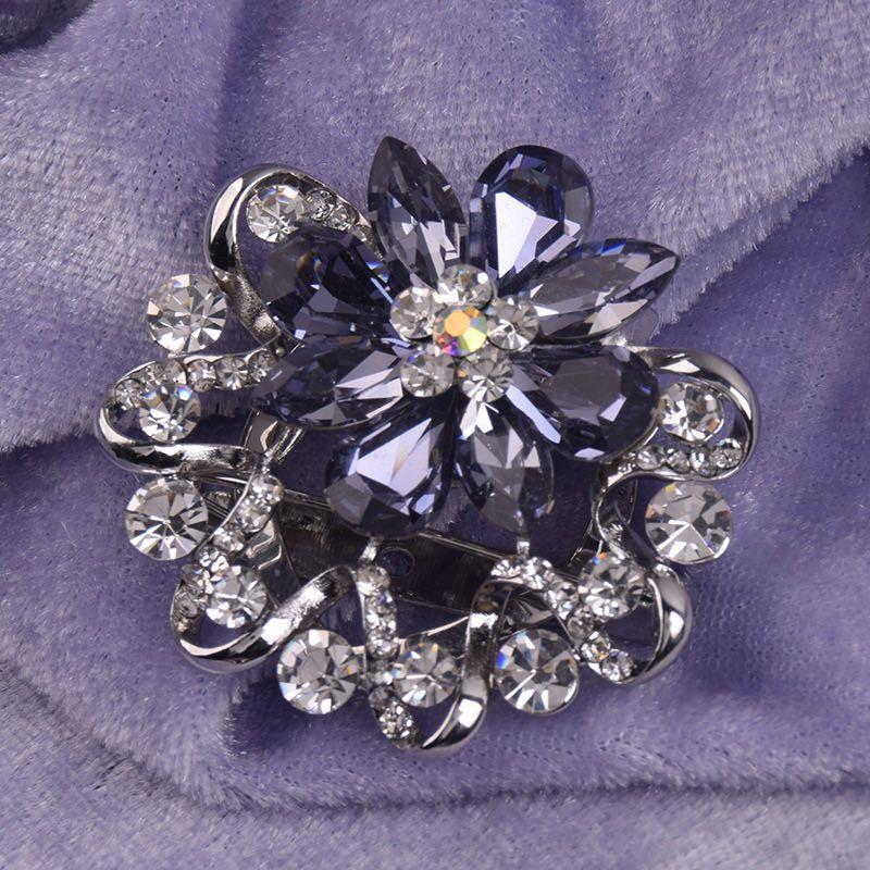 高档百搭胸花紫色镀水钻