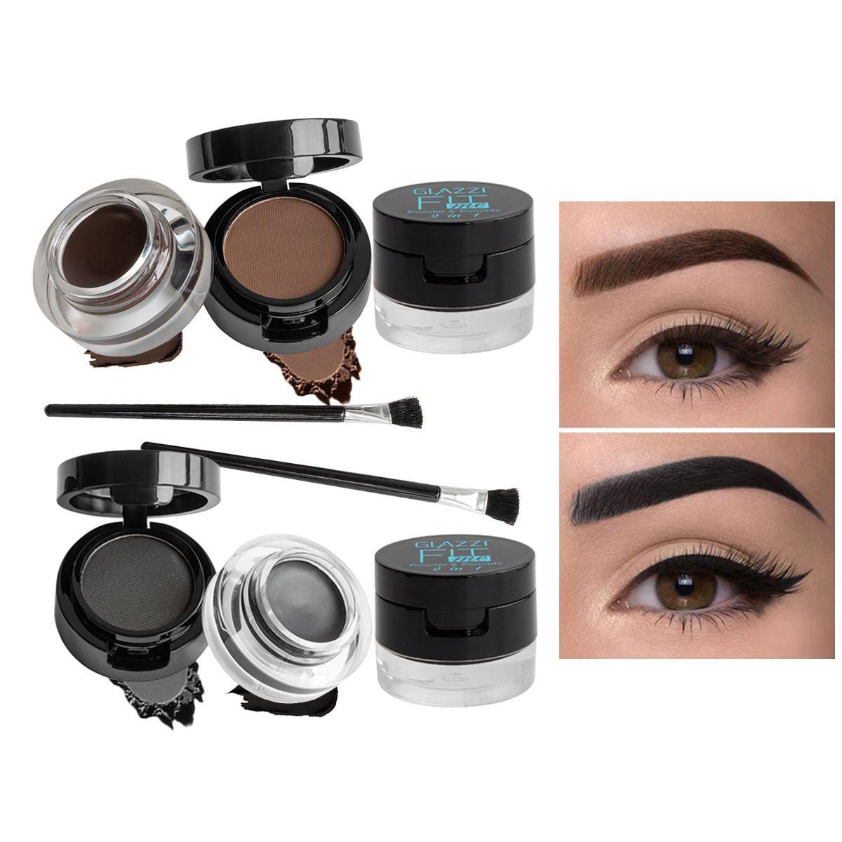 GLAZZI欧美热销双色双层眉粉眼线膏二合一粉状膏状眼线胶套装彩妆