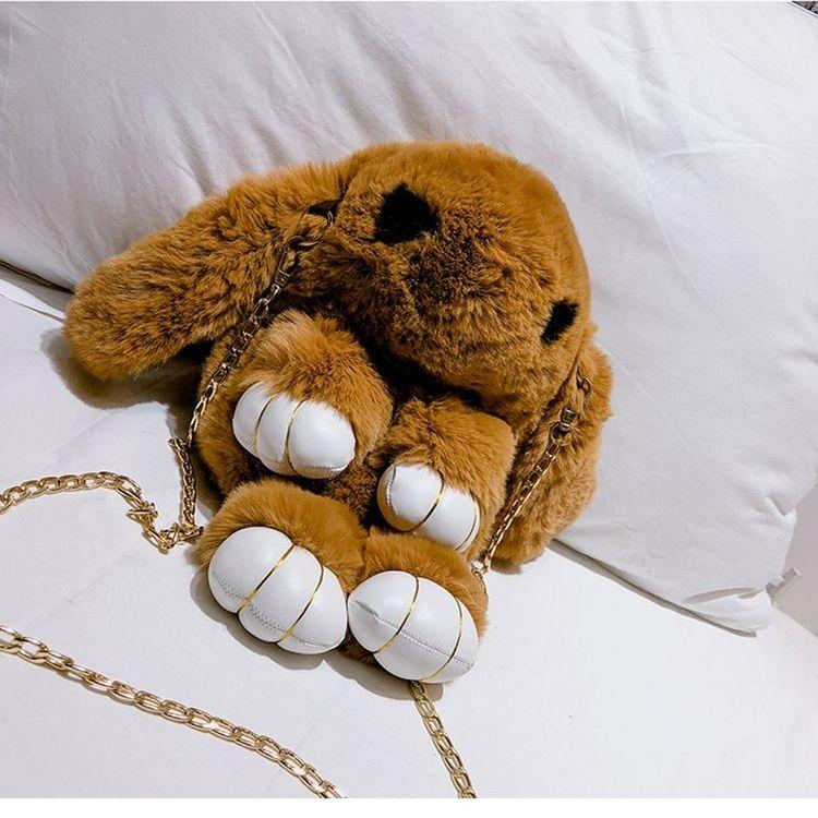 毛绒小包包女秋冬新款纯色毛毛包可爱装死兔单肩斜挎包