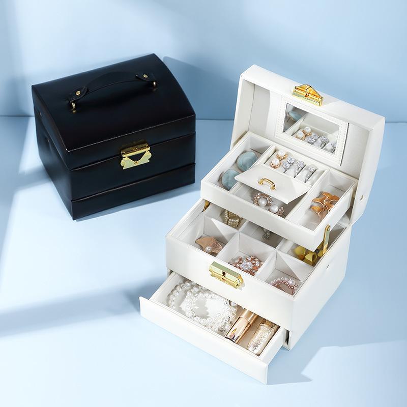 创意桌面式绒布首饰盒戒指手环耳环手链大容量多层旅行收纳盒