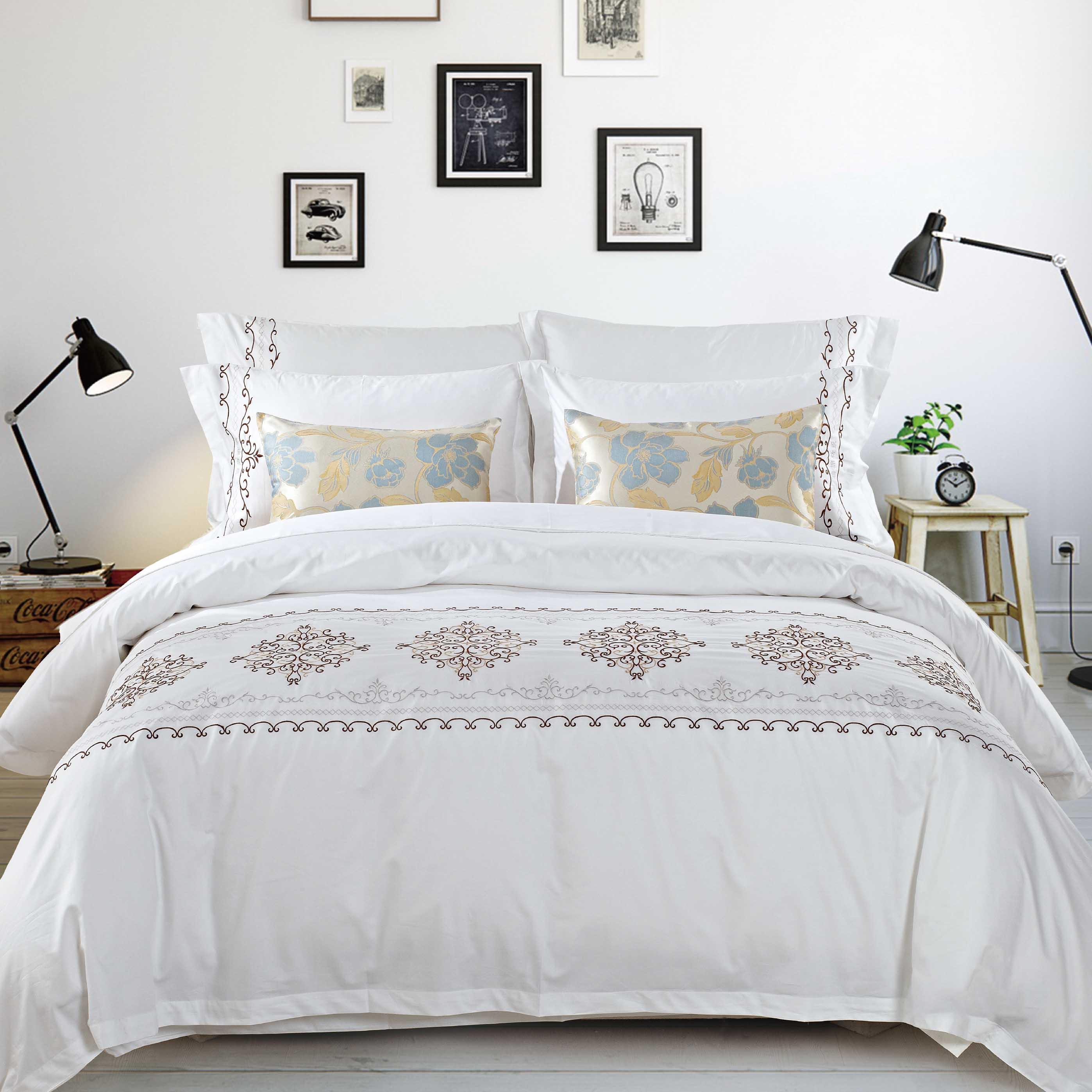 酒店 宾馆民宿床上用品布草绣花全棉客房布草四件套枕套床单被套