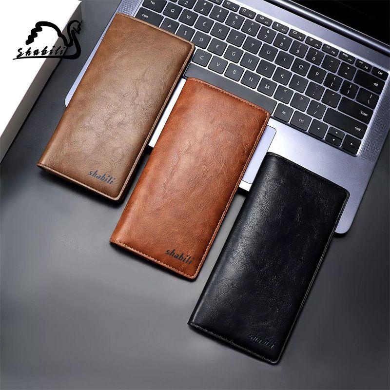 新款超薄男士钱包长款油蜡皮商务钱夹创意手机包厂家批发