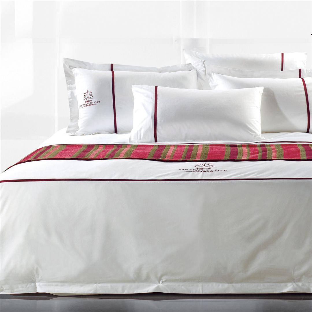 酒店 宾馆 民宿 床上用品 布草 四件套绣花全棉客房布草 枕套 床单被套