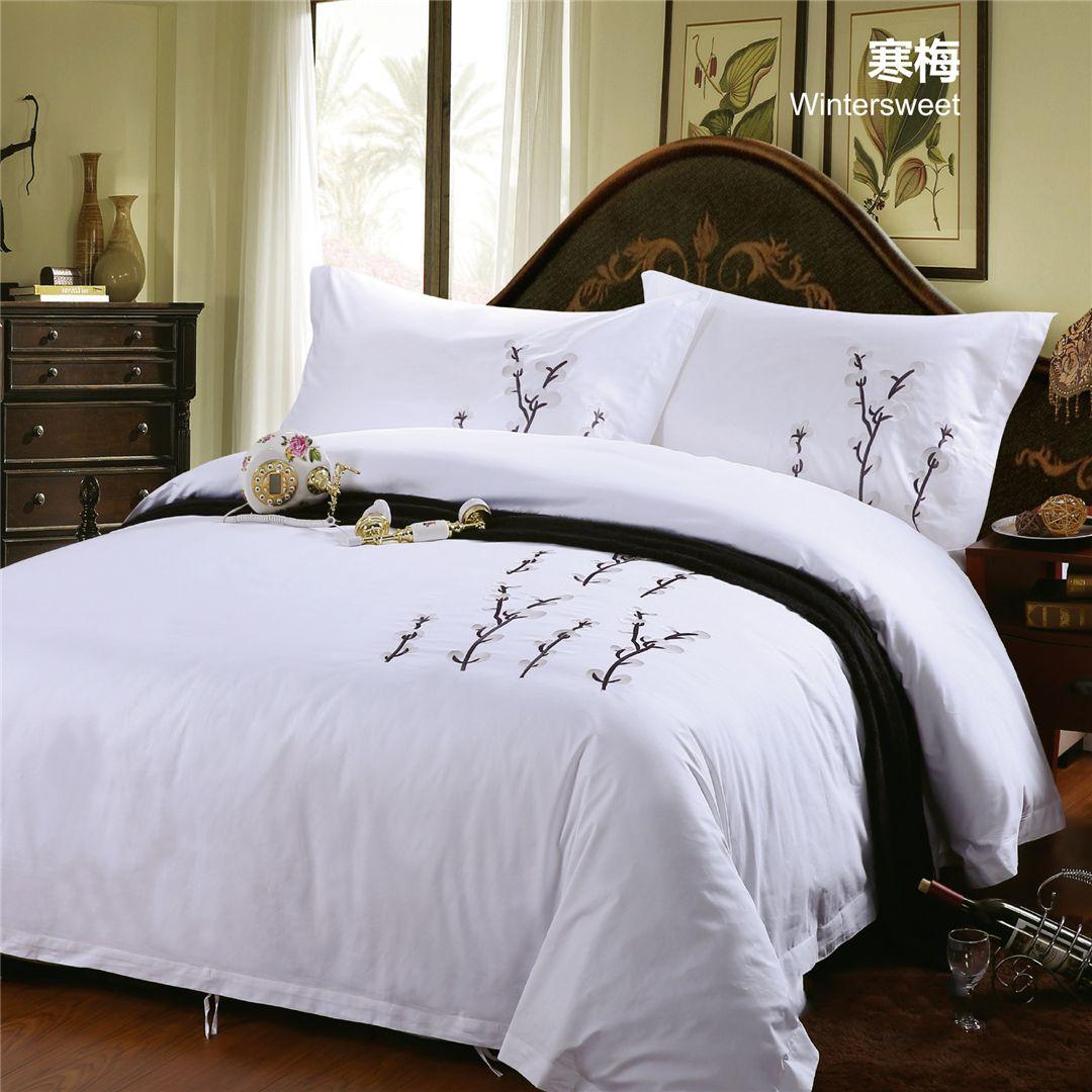 酒店 民宿 宾馆 床上用品布草绣花全棉客房布草四件套 被套枕套床单