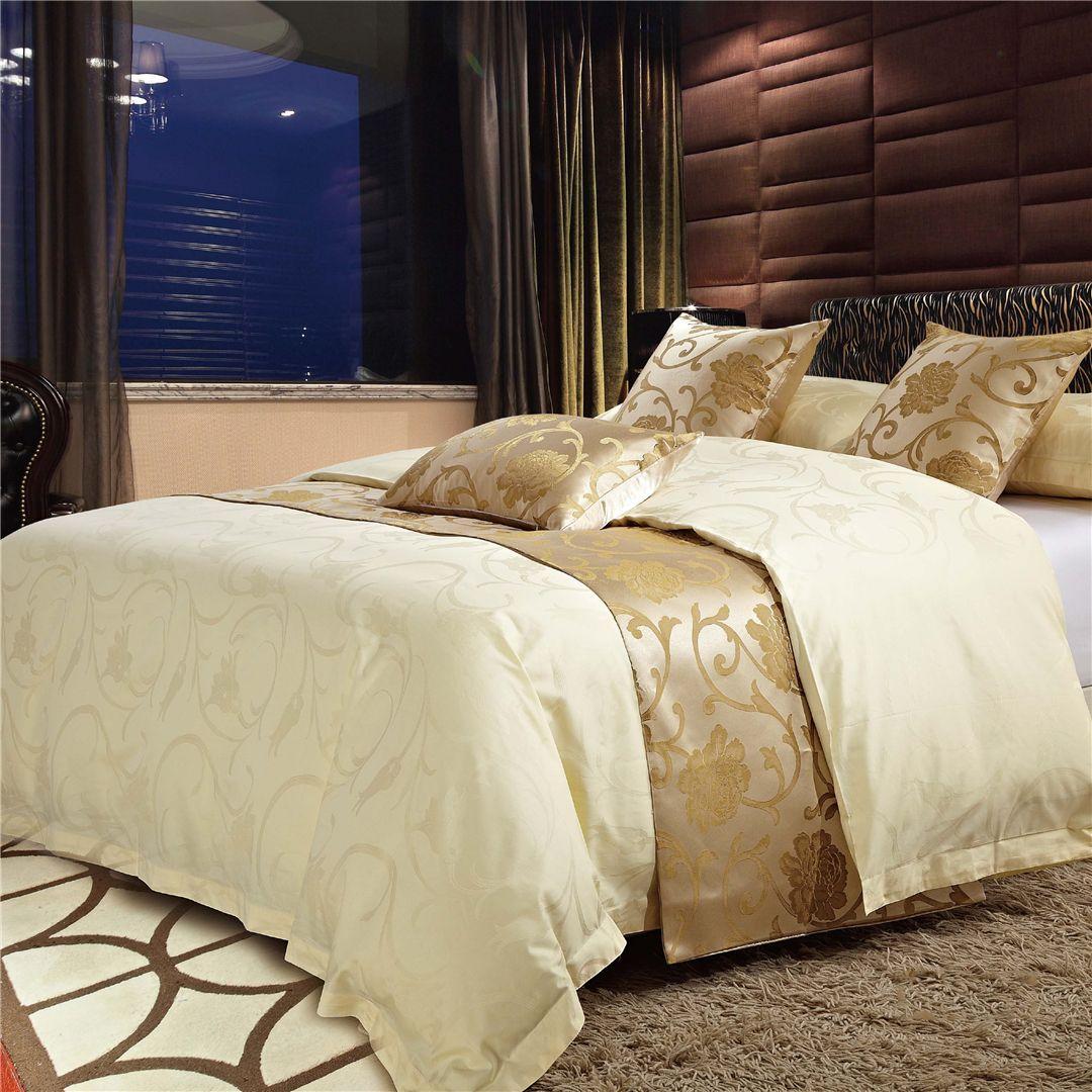 民宿 酒店 宾馆 床上用品 布草 白色 印花全棉四件套客房布草