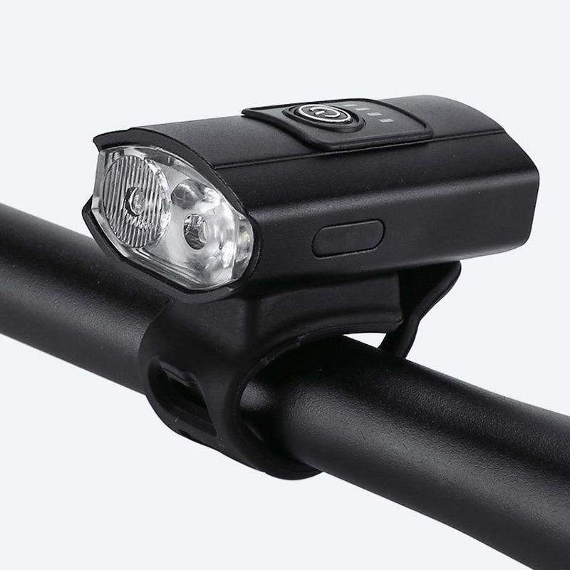 2285双光源铝合金自行车前灯单车照明前灯夜骑行强光手电筒USB充电