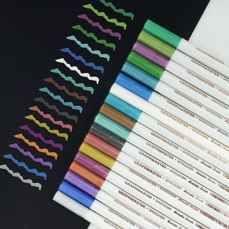 马克笔金属油漆笔软头闪光笔DIY相册涂鸦笔水性记号笔 彩色笔套装