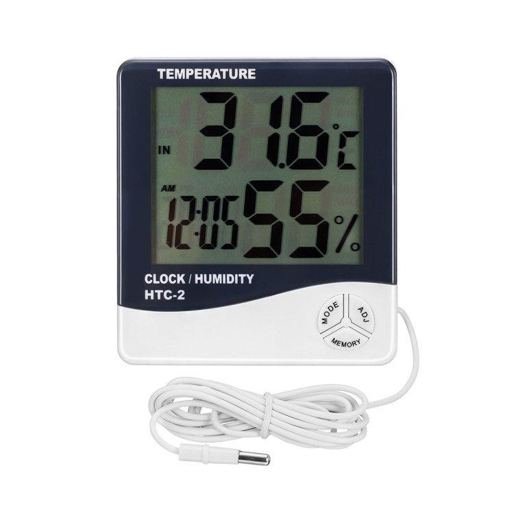 家用大屏幕电子温湿度计带探头温湿表HTC-2室内外数显温度计
