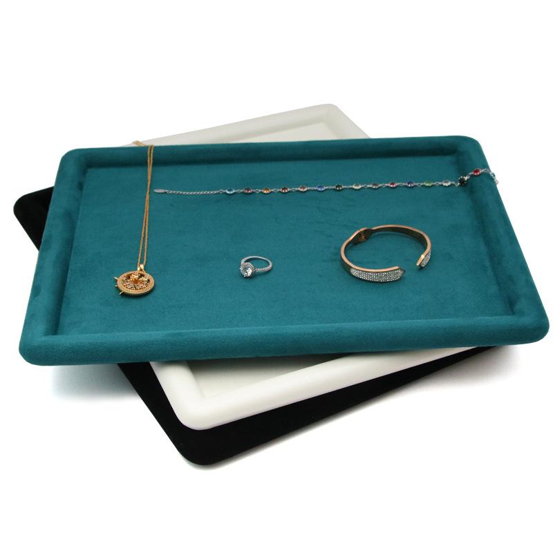 精品首饰盘绿色超纤绒布挑拣盘戒指托盘珠宝店展示盘pu皮革饰品盘
