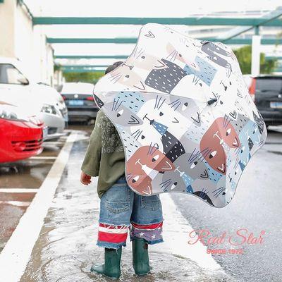 0056儿童圆角雨伞长柄伞推拉式设计纤维骨雨伞长伞儿童雨伞批发