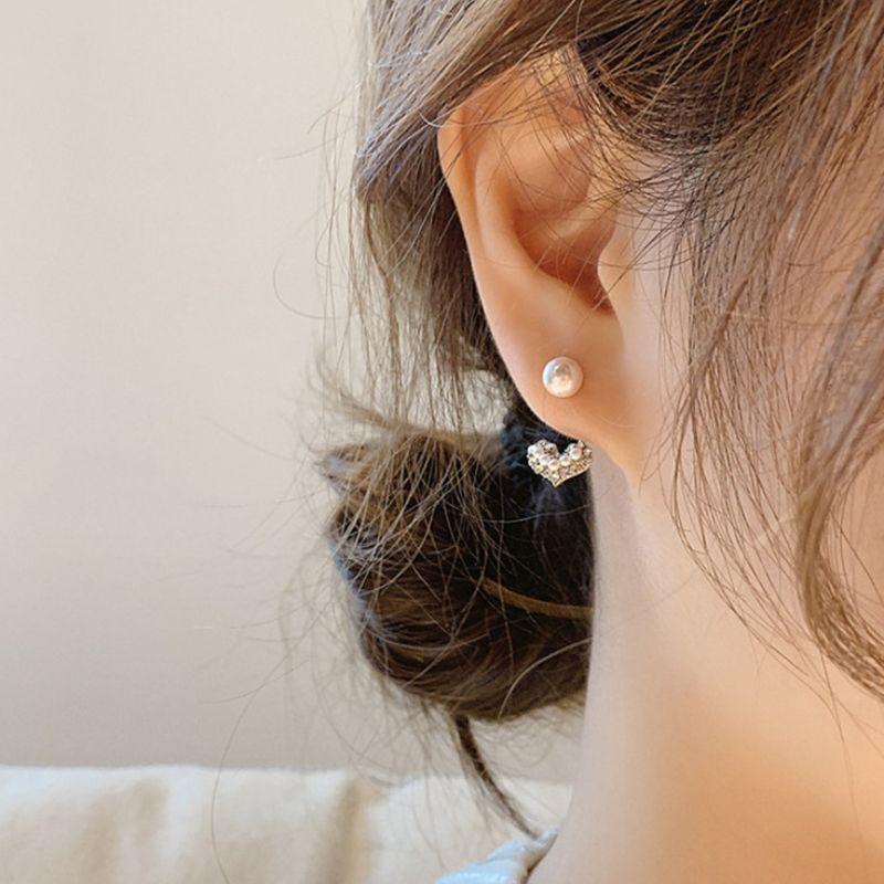 韩国东大门潮简约925银针水钻小爱心小珍珠耳钉耳环少女耳坠