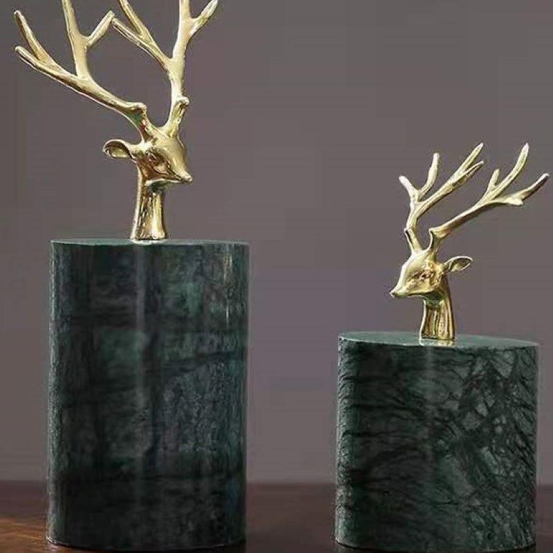 创意纯铜鹿头摆件大理石轻奢客厅桌面装饰室内软装电视柜酒柜礼品