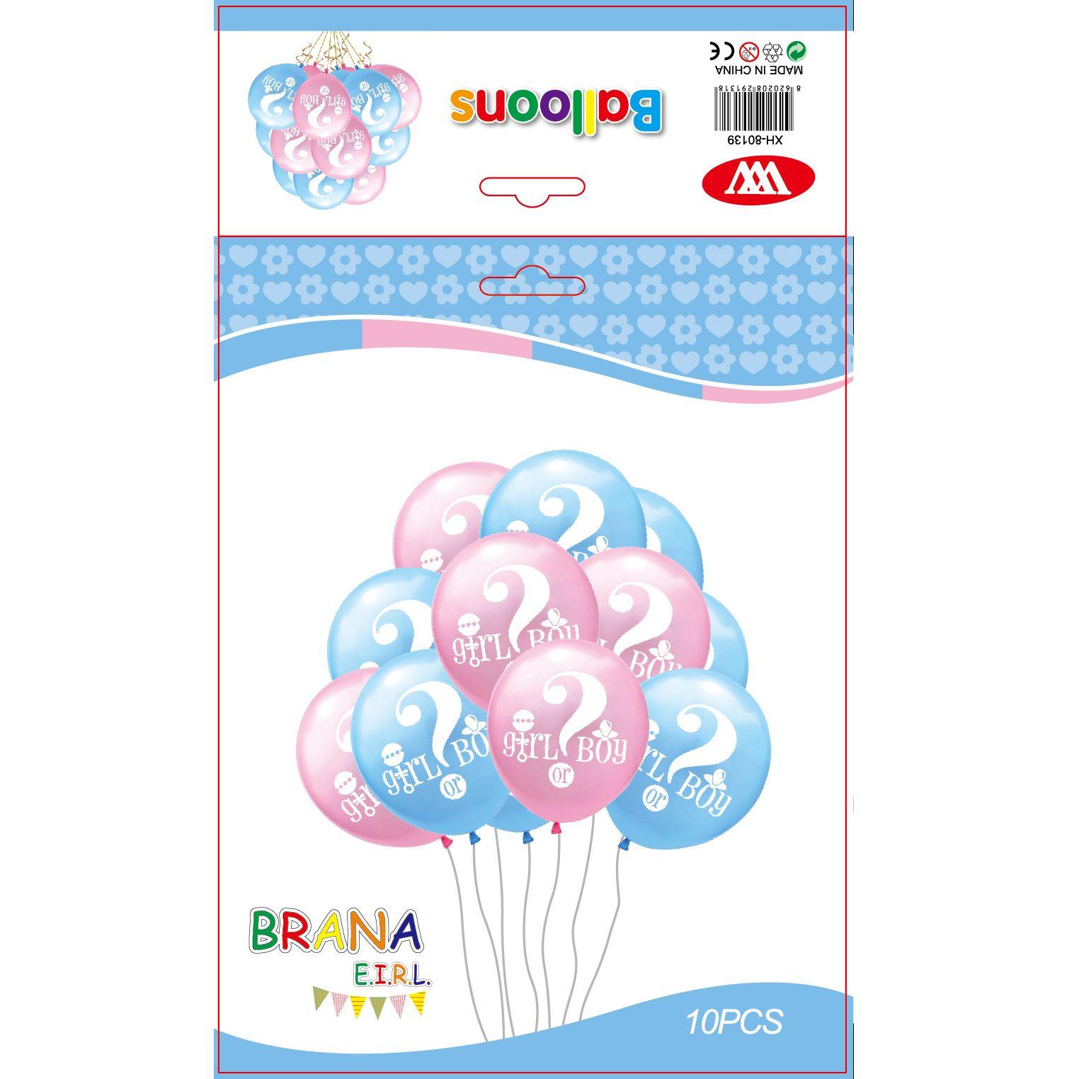 厂家直供 10pcs12寸男孩女孩气球套装 加厚蓝色粉色乳胶气球套装