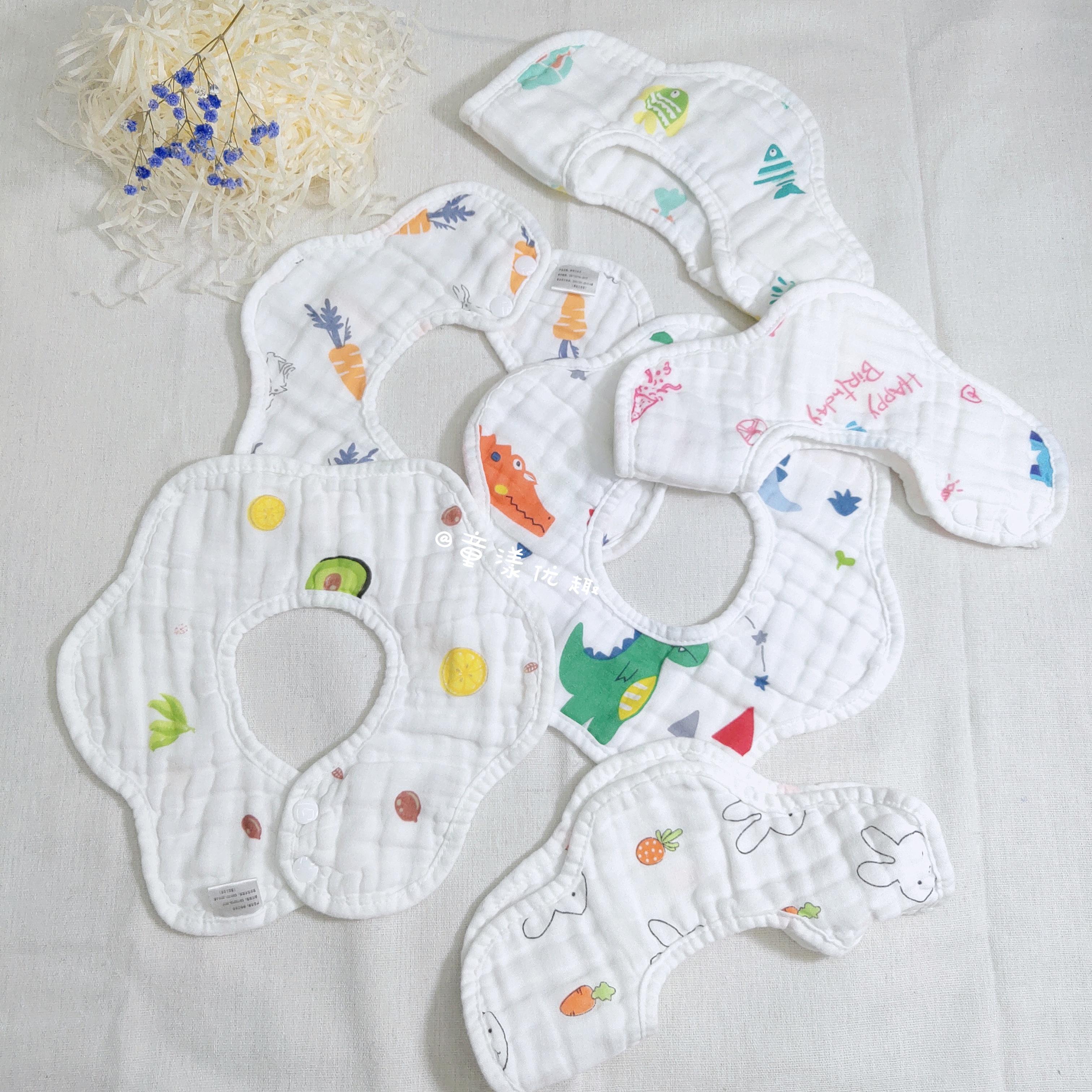 婴儿口水巾纯棉夏季薄款透气可旋转防水围兜宝宝6层高密纱布围嘴