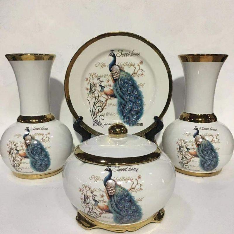 新款新款电镀金色印花陶瓷四件套花瓶轻奢现代简约家居装饰礼品客厅餐桌装饰柜摆件工艺品批发