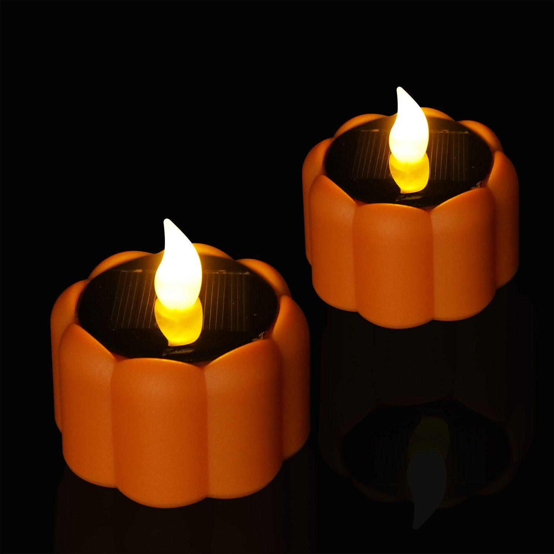 新款防雨太阳能南瓜蜡烛灯 万圣节装饰Led Solar candle