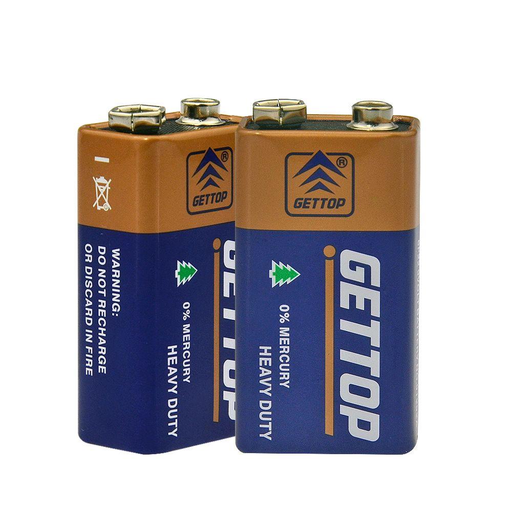 9V万用表干电池 GETTOP冠达 仪器电池 6F22方电池 层叠电池英文版
