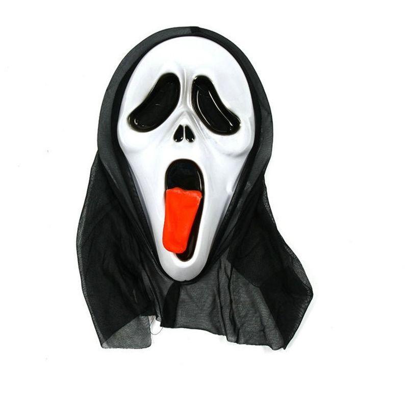 万圣节尖叫面具吐舌头鬼屋密室整人恐怖面具 舞会角色扮演装饰道