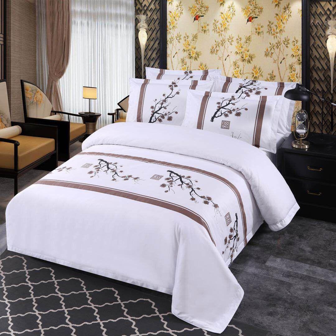 酒店 宾馆 民宿 客房布草 6040S中式缎条床上用品布草四件套