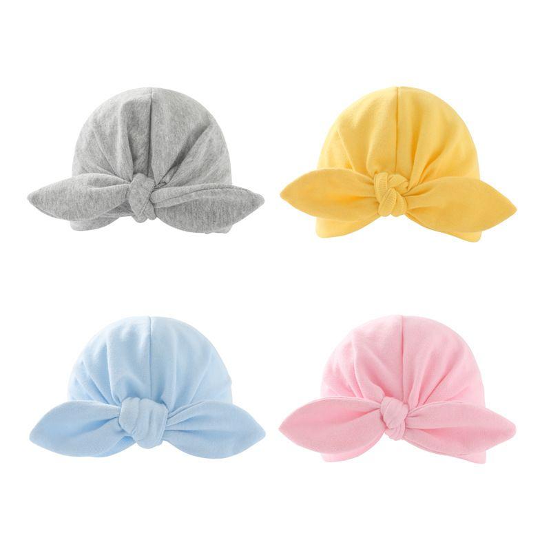 外贸印度新生胎帽婴儿帽蝴蝶结耳朵头巾儿童打结帽帽跨境货源