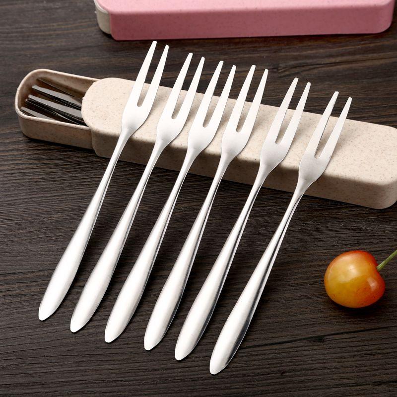 不锈钢水果叉 冰激凌叉 家用小叉子 二齿叉水果签 月饼叉蛋糕叉子