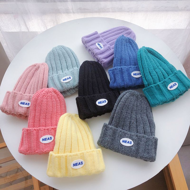 儿童贴标毛线帽子秋冬季保暖卷边韩风时尚简约男童女童字母针织帽
