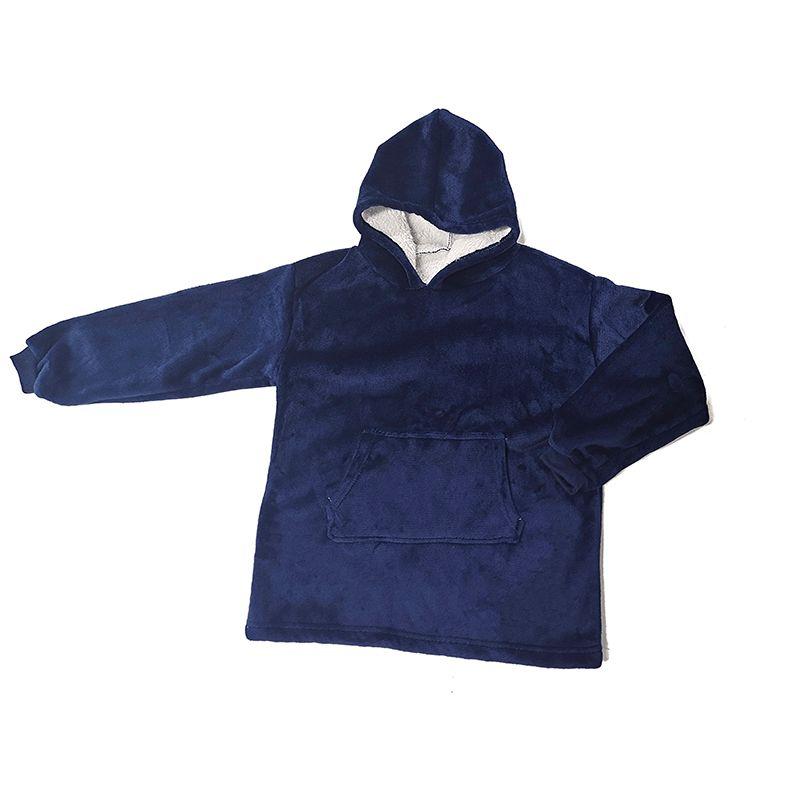 跨境新款 户外防寒保暖棉衣 儿童款连帽懒人套头抓绒服 工厂直供