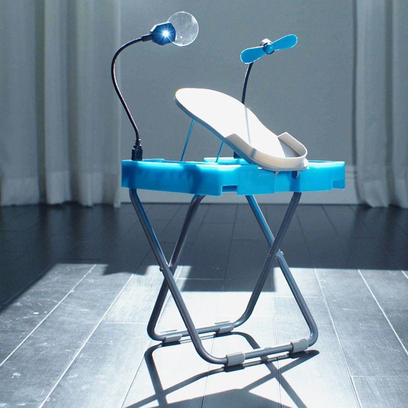 修甲美甲带风扇 家用美甲脚踏板salon step 跨境新品 带灯美甲凳