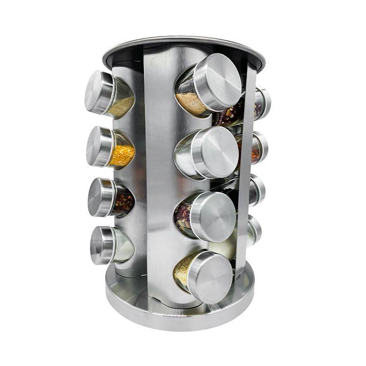 厨房用品不锈钢调味瓶套装 16个调味瓶带旋转架可旋转胡椒罐