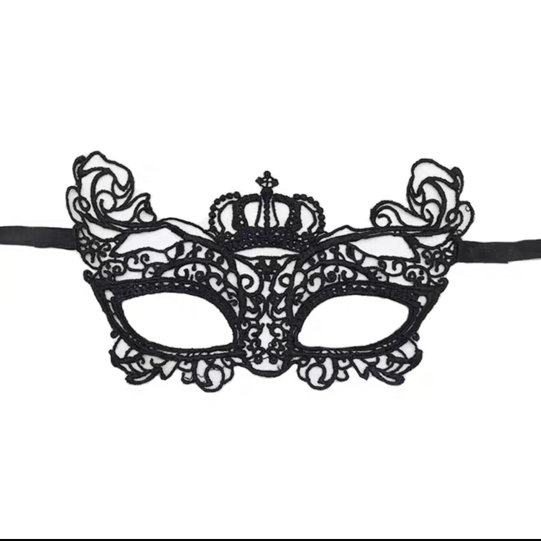 万圣节化妆舞会蕾丝面纱 性感眼罩 黑色定型面具女成人假面具 皇冠造型