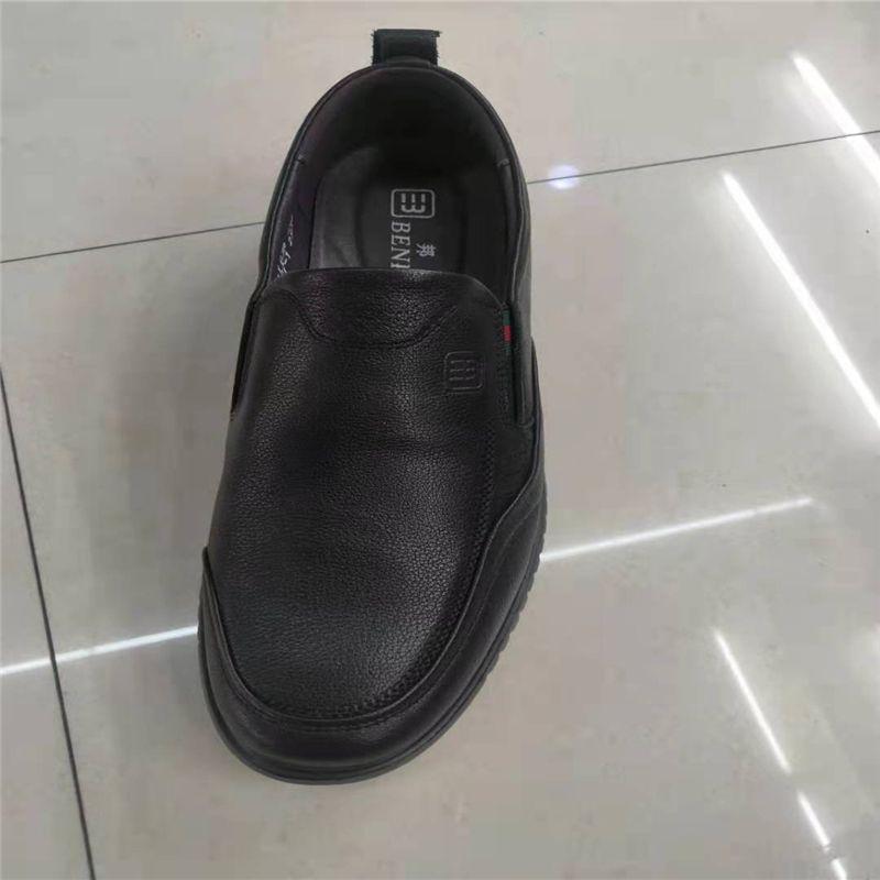 邦赛新款父亲防滑透气正品休闲软底软面头层真牛皮鞋耐磨套口男鞋42
