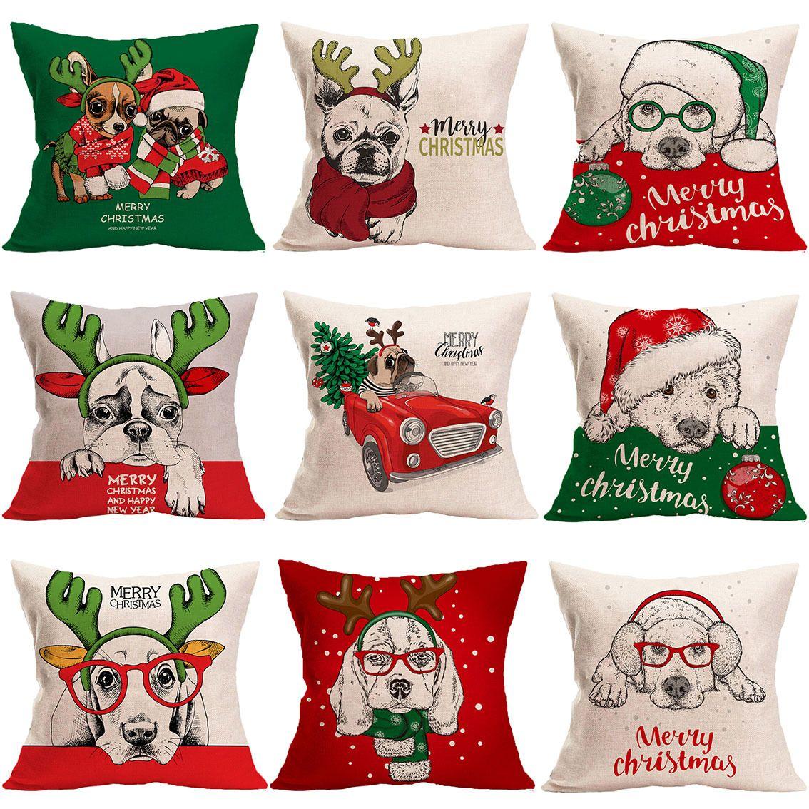 新款跨境亚麻圣诞抱枕套狗狗动物卡通家居装饰沙发靠垫套汽车靠枕