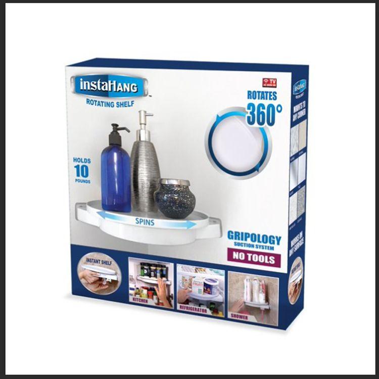 InstahangRotatingShelf浴室厨房旋转三角置物架吸壁式免打孔置