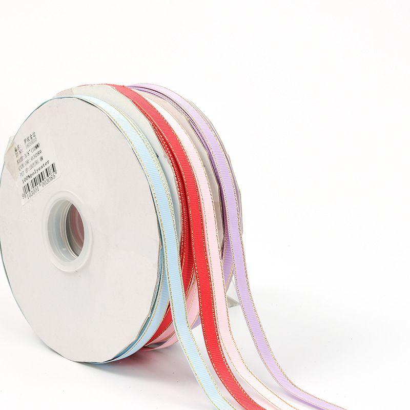 金边彩色罗纹带礼品包装带 生日蝴蝶结纺织配件辅料织带厂家直供0.6cm