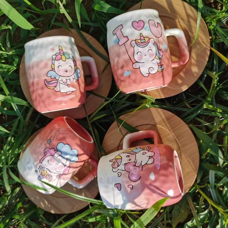 巴克星辰陶瓷情侣杯可爱独角兽木板杯创意个性咖啡杯高档茶杯礼品水杯