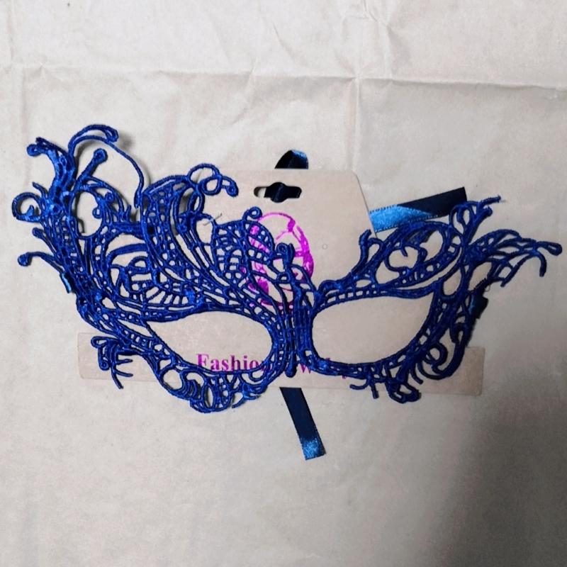 万圣节化妆舞会蕾丝面纱 性感眼罩 蓝色定型面具女成人假面具 飞舞