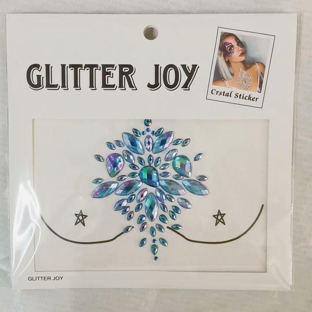 款亚克力树脂纹身贴 水晶水转印钻石胸贴 狂欢派对彩妆胸贴钻