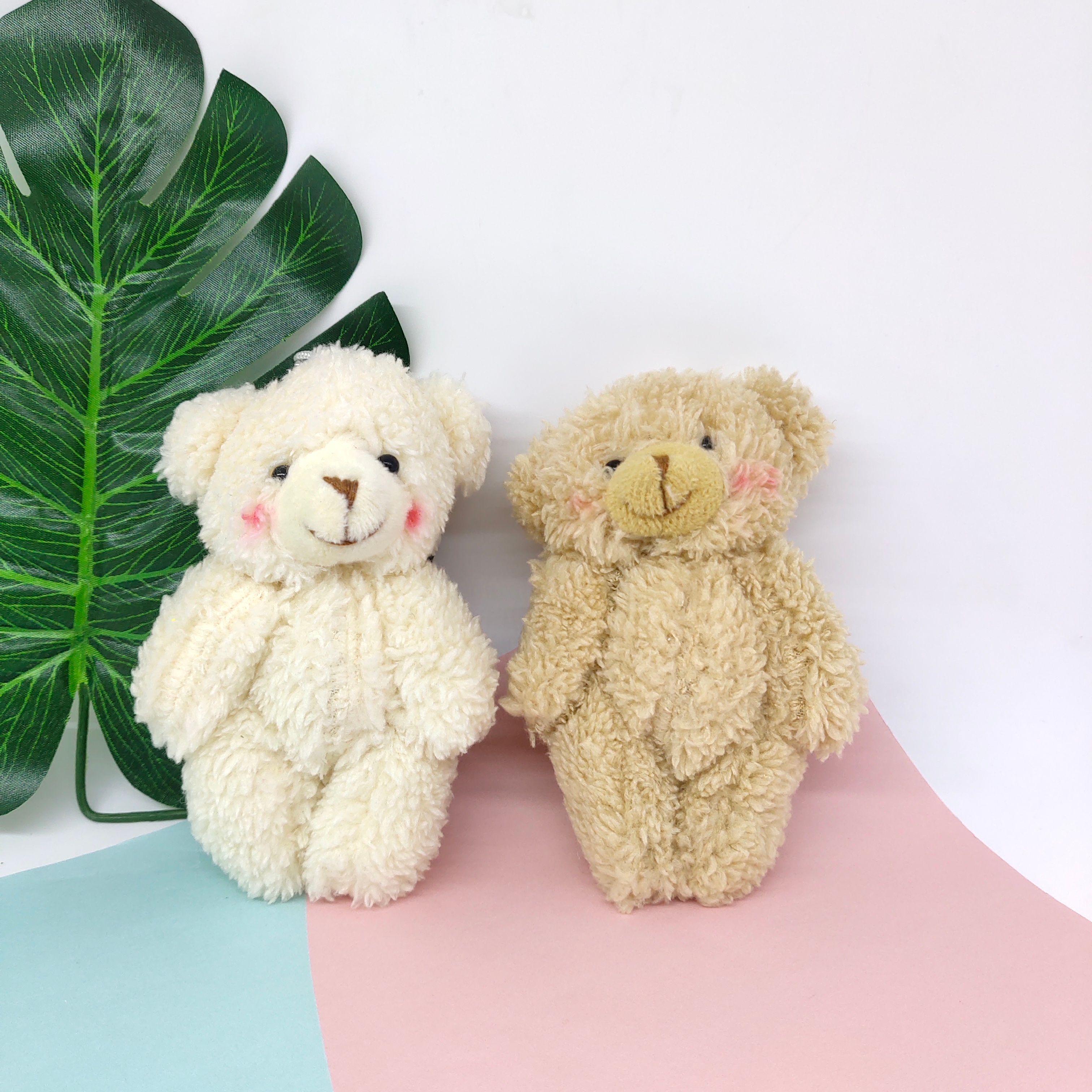 12cm卷毛腮红小熊毛绒玩具 跨境网红可爱包包小挂件 毛绒关节熊公仔