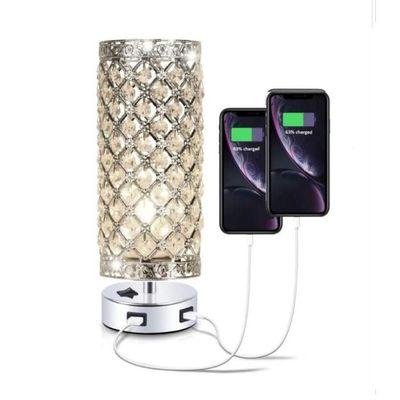 跨境 现代简约USB充电台灯 卧室床头水晶装饰台灯婚房台灯