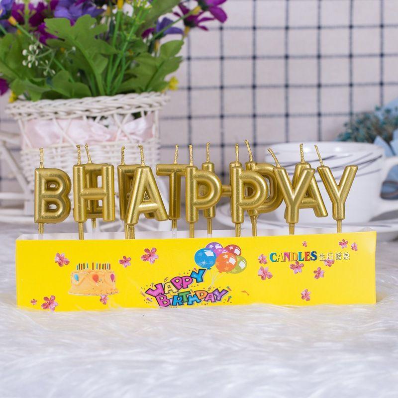 生日蜡烛 金色镀金工艺字母蜡烛灯创意蜡烛蛋糕烘焙蠟燭生日裝饰