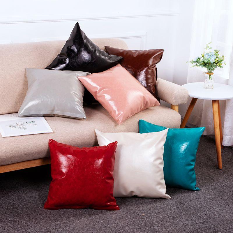 定制款PU抱枕套 欧式抱枕套靠垫套 卧室客厅沙发枕头皮套可印logo