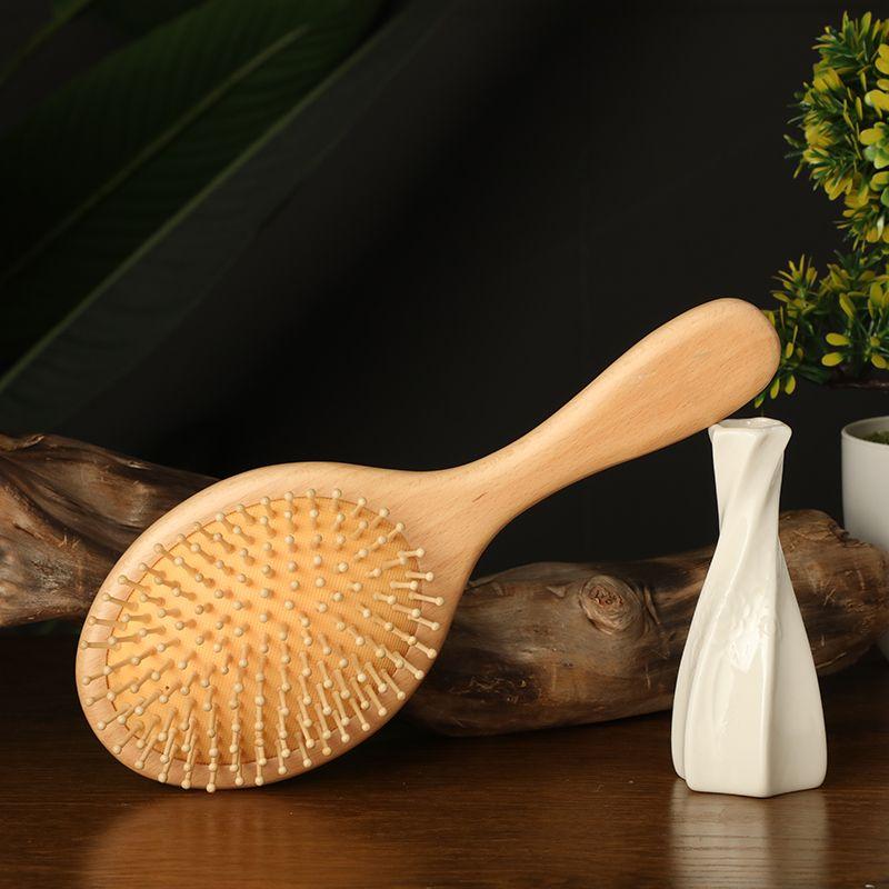 厂家直销楠竹气垫按摩梳直顺发卷发梳檀木梳头皮按摩气囊梳子