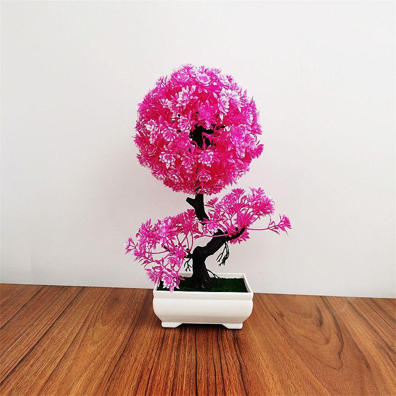 仿真盆栽球形茶花小树塑料盆景假花绿植花卉办公桌面家居装饰摆件