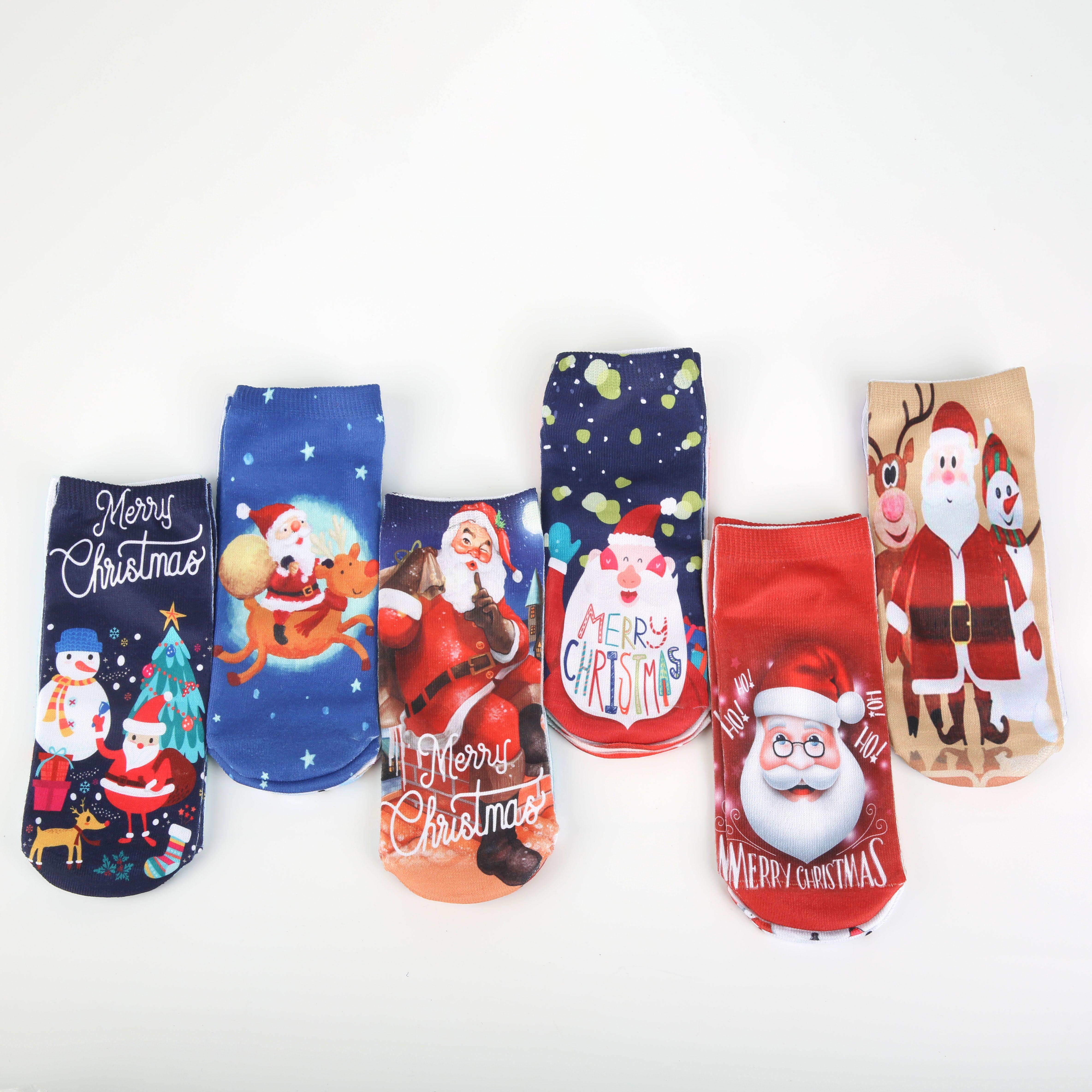 印花袜子短袜3D印花圣诞袜子